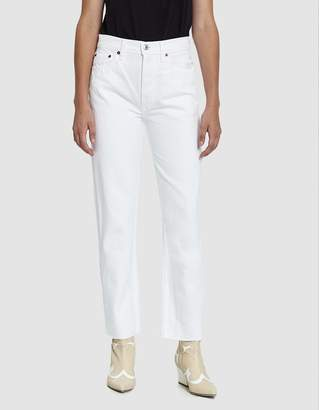 RE/DONE High Rise Stove Pipe Jean in White