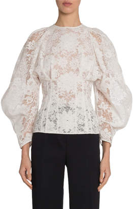 Givenchy Lace Corseted Wide-Sleeve Top