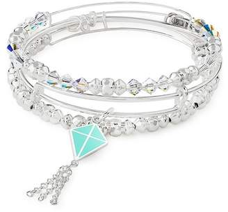 Alex and Ani Charity By Design In Flight Charm & Beaded Expandable Wire Bracelet Set