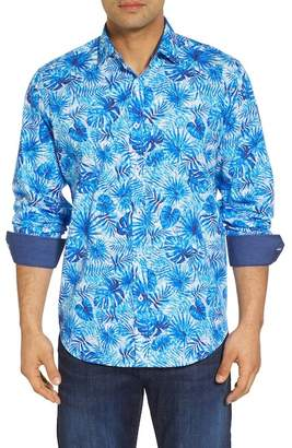 Bugatchi Tropical Leaves Classic Fit Print Sport Shirt