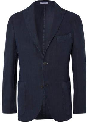 Navy Unstructured Linen Suit Jacket