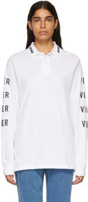 Vier White Logo Long Sleeve Polo