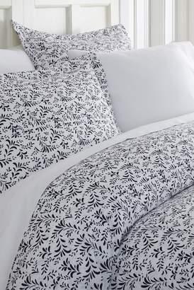 IENJOY HOME Home Spun Premium Ultra Soft 3-Piece Burst of Vines Print Duvet Cover King Set - Navy