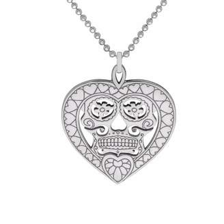 CarterGore - Silver Sugar Skull Heart Pendant Necklace