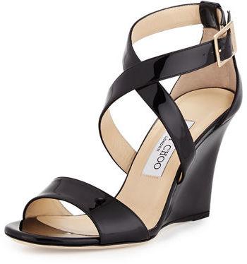 Jimmy ChooJimmy Choo Fearne Patent Crisscross Wedge Sandal