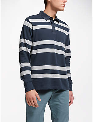 John Lewis Textured Stripe Rugby Top, Navy