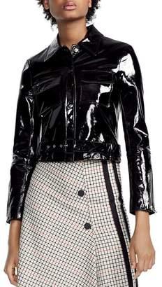 Maje Bliza Cropped Patent Leather Jacket