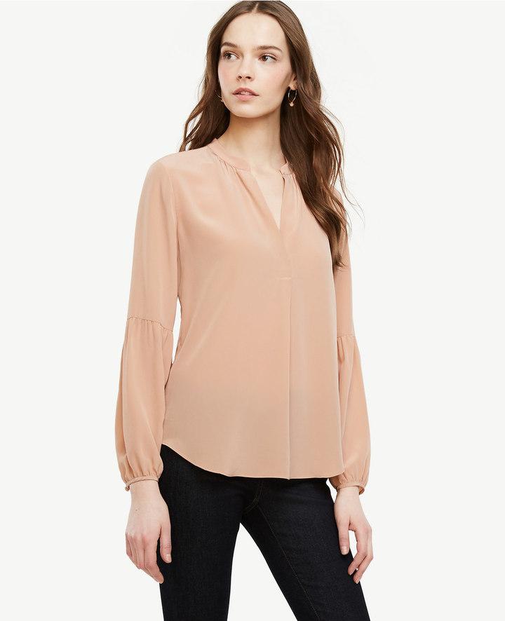 Ann TaylorPetite Lantern Sleeve Silk Blouse