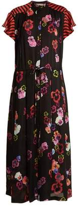 Preen Line Nova Pansy Print And Striped Crepe Dress - Womens - Black Multi