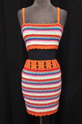 Olivaceous Crochet Skirt Set