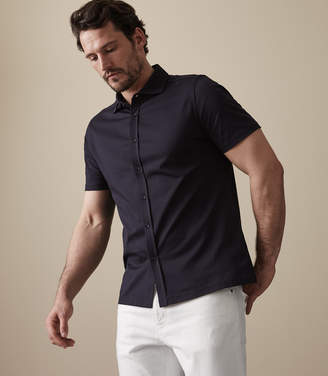 Reiss ORDER BY MIDNIGHT DEC 15TH FOR CHRISTMAS DELIVERY JEREMY PIQUE BUTTON THROUGH SHIRT Navy