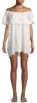 Miguelina Dragon Fly Off-the-Shoulder Scallop Lace Coverup Dress