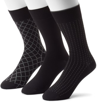 Marc Anthony Men's 3-pack Diamond & Solid Microfiber Dress Socks