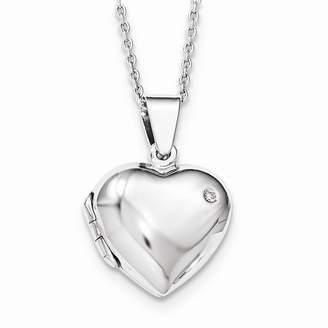 Ice Diamond Quinn's Gold SS White Heart Locket Pendant