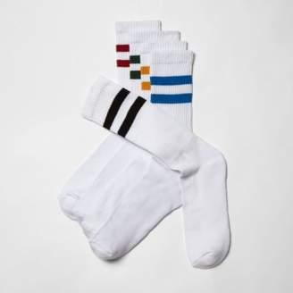 River Island Mens White multi color tube socks multipack