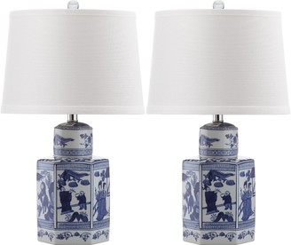 Set of Two Blue and White Ceramic Asian Lamps - CURRENTLY ON BACKORDER