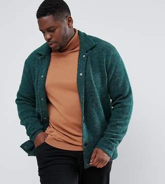 Asos PLUS Knitted Harrington Jacket in Hairy Yarn in Green
