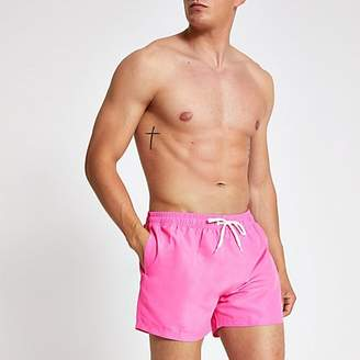 River Island Neon pink Prolific short swim shorts