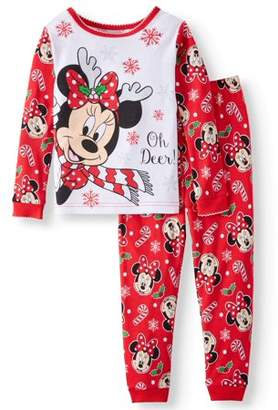 Minnie Mouse Christmas Long Sleeve Tight Fit Pajamas, 2pc Set (Toddler Girls)