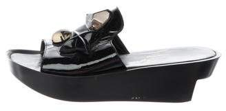 Robert Clergerie Embellished Patent Leather Wedges