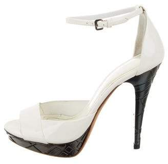 Burberry Patent Leather Ankle Strap Sandals