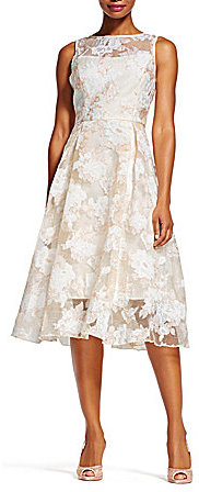 Adrianna Papell Adrianna Papell Crew Neck Sleeveless Floral Print Fit & Flare Dress