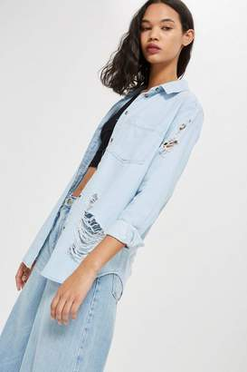 Topshop Bleach Oversized Denim Shirt