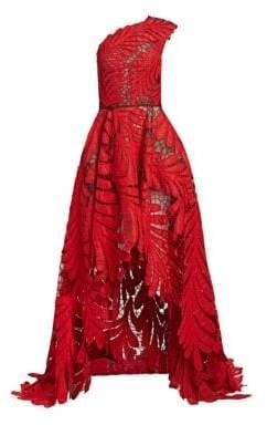 Oscar de la Renta One-Shoulder Beaded Silk Faille Gown