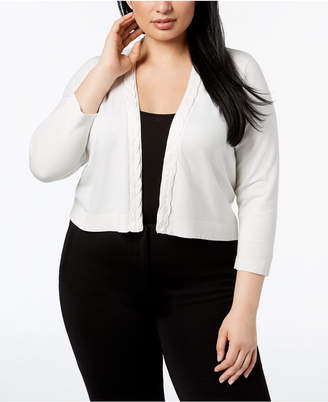 Calvin Klein Plus Size Cropped Braided-Trim Cardigan