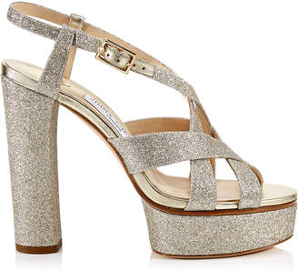 Jimmy Choo CARESS 125 Platinum Ice Dusty Glitter Platform Sandals