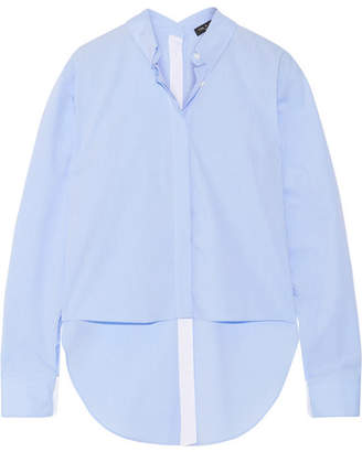 rag & bone - Calder Asymmetric Cotton-poplin Shirt - Sky blue $375 thestylecure.com