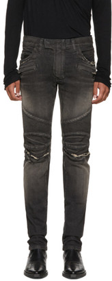 Balmain Black Distressed Biker Jeans $1,295 thestylecure.com