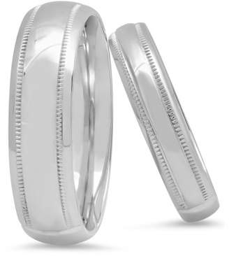 Unbranded His and Hers Sterling Silver High Polish Duo Wedding Ring Band Set Womens & Mens Matching Wedding Band Set