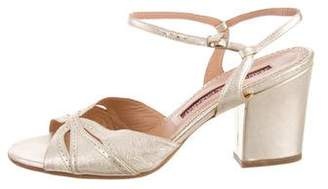 Jean-Michel Cazabat Metallic Leather Ankle-Strap Sandals