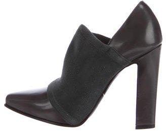 Giorgio Armani Leather Pointed-Toe Booties