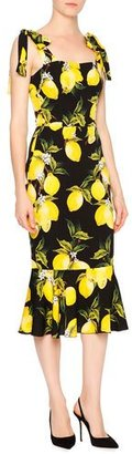 Dolce & Gabbana Sleeveless Lemon Flounce-Hem Dress, Yellow/Black $2,495 thestylecure.com