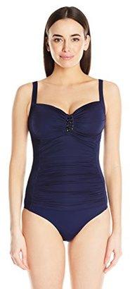 Jantzen Women's Solid Over The Shoulder One Piece Swimsuit $98 thestylecure.com