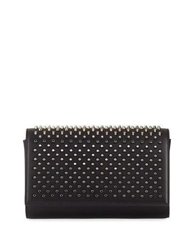 Christian Louboutin  Christian Louboutin Paloma Fold-Over Spike Clutch Bag, Black