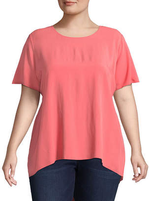 Boutique + + Short Sleeve Scoop Neck Woven Blouse - Plus