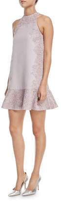Valentino Crepe Couture Dress with Heavy Metallic Lace Inlay