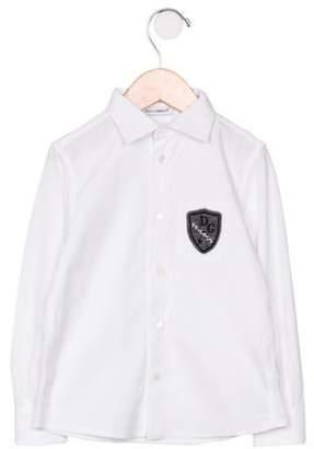 Dolce & Gabbana Girls' Long Sleeve Button-Up Blouse white Girls' Long Sleeve Button-Up Blouse