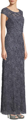 Adrianna Papell Bateau-Neck Beaded Lace Gown