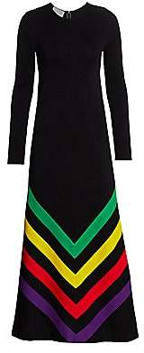 Gucci Women's Long Sleeve Chevron Print Silk Cotton Maxi Dress