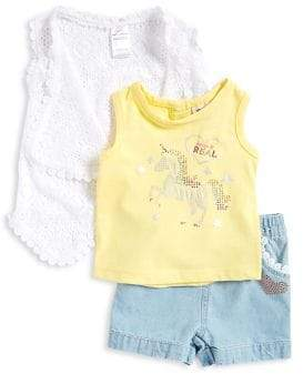 Little Lass Baby Girl's Three-Piece Vest, Tank Top and Shorts Set