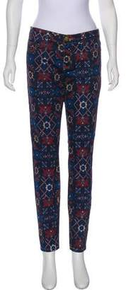 Current/Elliott Midnight Tapestry-Print Mid-Rise Jeans