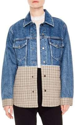 Sandro Mixed Media Denim& Plaid Jacket