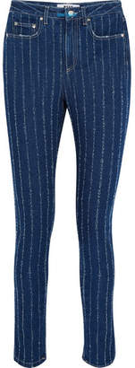 MSGM Distressed Pinstriped High-rise Skinny Jeans - Navy