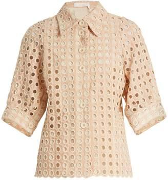 Chloé Embroidered eyelet cotton-blend shirt