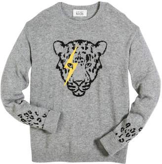 Autumn Cashmere Lightning Eye Leopard Crew-Neck Sweater, Size 6-16