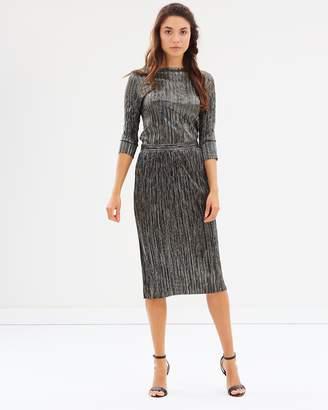 Warehouse Foil Plisse Skirt
